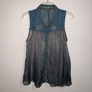 Love Stitch Leopard Print Ombre Denim Blouse Shirt